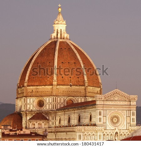 wonderful  view of cathedral of Florence at dawning light, Tuscany, Italy - stock photo