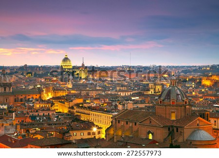 Wonderful view of Rome at sunset time with St Peter Cathedral - stock photo