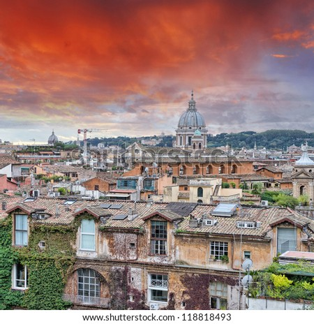 Wonderful view of Rome at sunset with St Peter Cathedral. - stock photo
