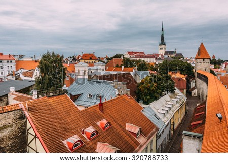 Wonderful view on the roofs of Old Town Tallinn, Estonia - stock photo