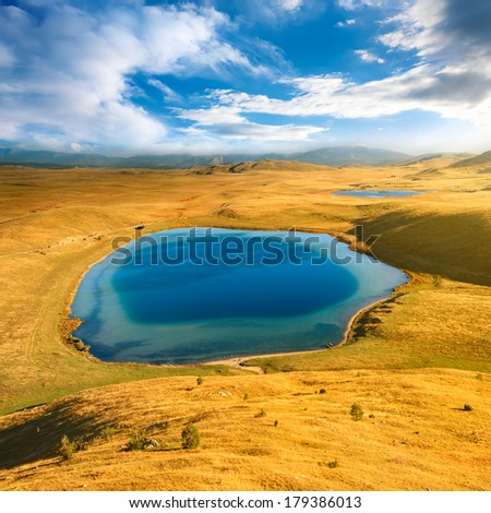 Wonderful view to glacial lakes in the national park Durmitor - stock photo