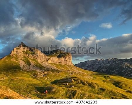 Wonderful view to mountains in the national park Durmitor. Montenegro Balkans Europe. Beauty world. Autumn Landscape jn a blue sky - stock photo