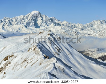 Wonderful winter alpine mountain range landscape - stock photo