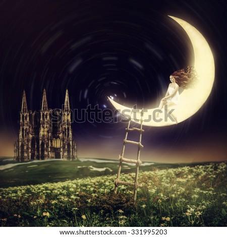 Wonderland. Beautiful female princess sitting on moon in night sky with stars - stock photo