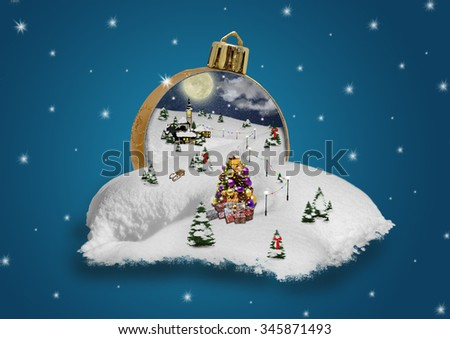 Wonderland in a christmas ball - stock photo