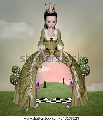 Wonderland series - Girl with landscape inside - stock photo