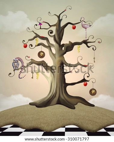 Wonderland series - Wonderland tree of life - stock photo