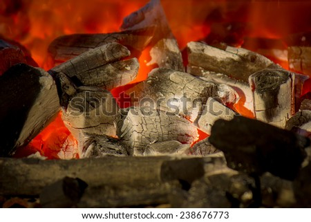 wood and coal burning in a BBQ - stock photo