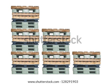 Wood and palstic stack use for cargo - stock photo