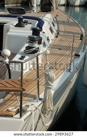 Wood and steel on sailboat - stock photo