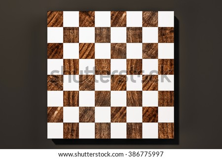 Wood and white chess board game on black background, 3d rendered - stock photo
