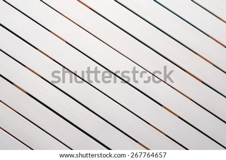 Wood Background Texture, diagonal new boards, white color planks - stock photo