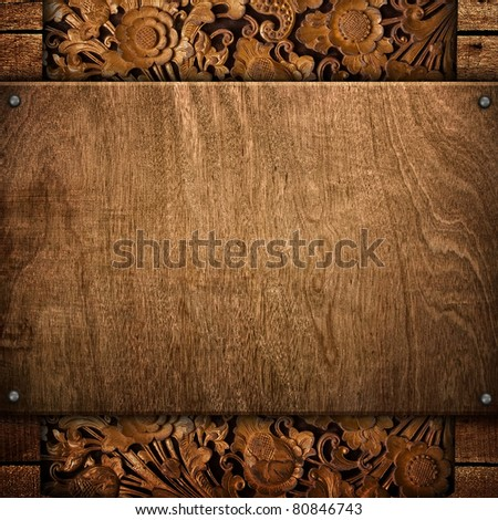 wood background with carving pattern - stock photo