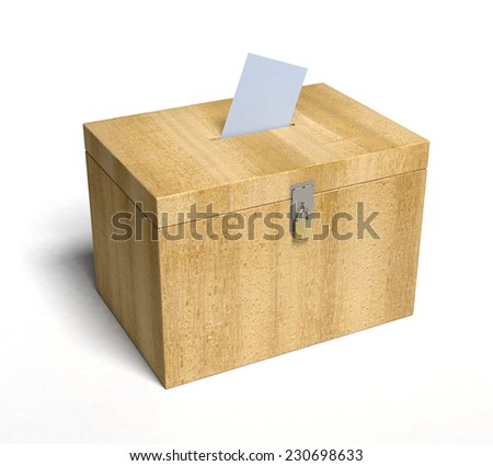 Wood Ballot Box with Paper Inserted... 3D rendered. - stock photo