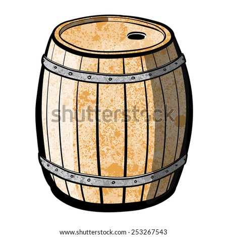 Wood barrel with steel ring. Old Barrel. A children's sketch. Color image. - stock photo