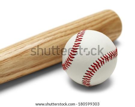 Wood Baseball Bat and Ball Isolated on White Background. - stock photo