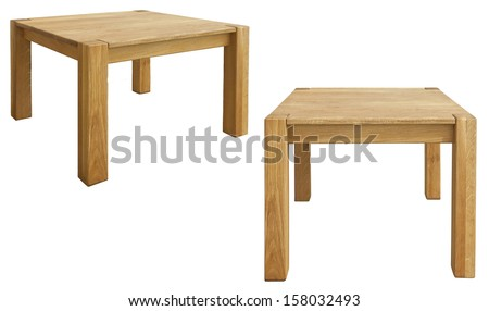wood bedside table on white background - stock photo