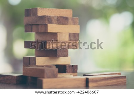 Wood blocks stack game, background concept, vintage - stock photo