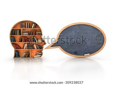 Wood Bookshelf in the Shape of Human Head and books with school blackboard , Knowledge Concept - stock photo