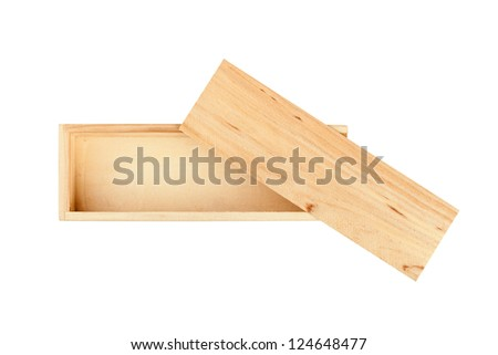 Wood box isolated on the white background - stock photo