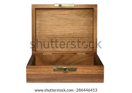 Wood Box Straight View - stock photo