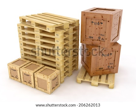 wood boxes on wooden palette - stock photo