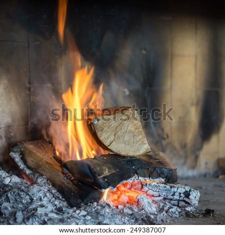 Wood burning fireplace - stock photo