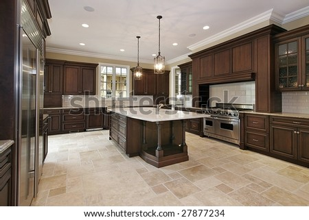 Wood cabinet kitchen in luxury home - stock photo