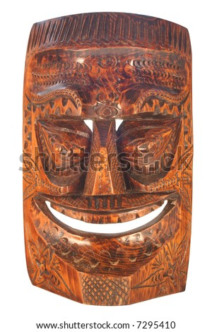 Wood carved Tiki Mask - stock photo