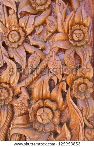 Wood carving decorated at windows of the temple, hand made by Th - stock photo