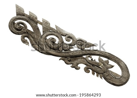 Wood carving in Lao style Traditional  - stock photo