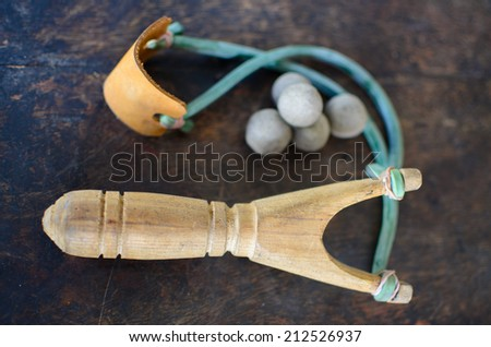 wood catapult thai style, shallow focus - stock photo