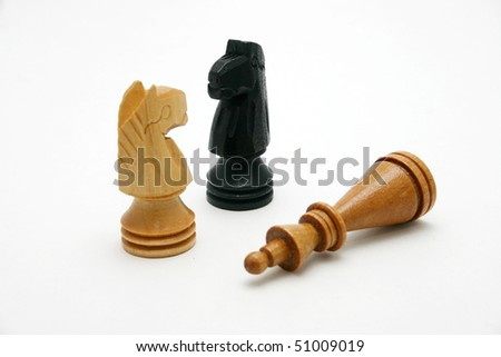 Wood chess pieces knight and queen. - stock photo