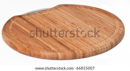 Wood chopping board on a seamless white background - stock photo