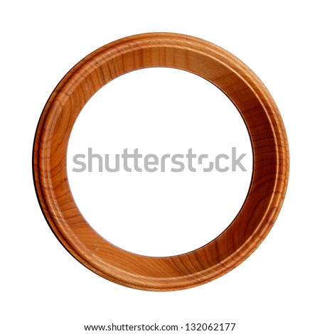 wood circle frame on white isolated background - stock photo