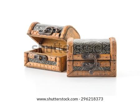 wood coffer on white background - stock photo