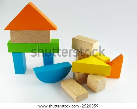 Wood color toy blocks  on the white background - stock photo