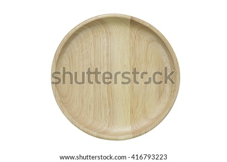 wood dish isolated on white background.include clipping path - stock photo
