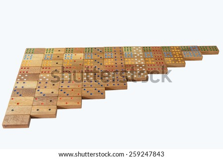 Wood Domino , White Background - stock photo
