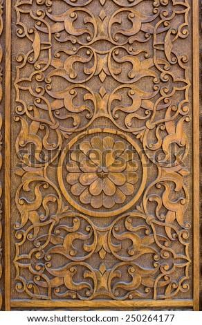 Wood door carving - stock photo