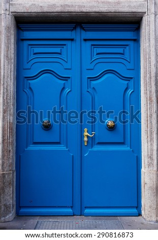 wood door. house door - stock photo