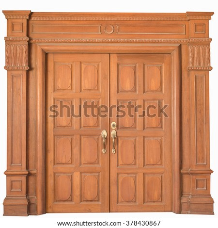 Wood door on white background. - stock photo