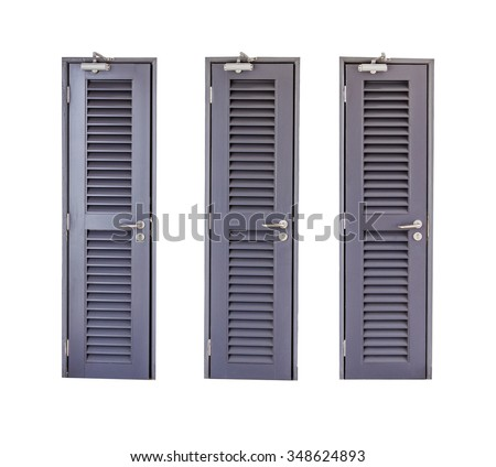 Wood door on white isolated background with clipping path. - stock photo