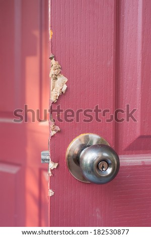 wood door was pry by a thief - stock photo