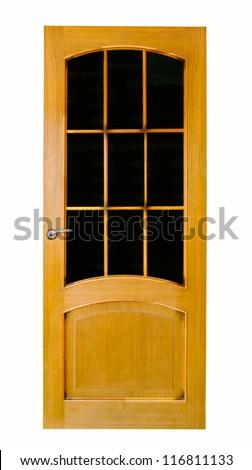 Wood door with glass - stock photo