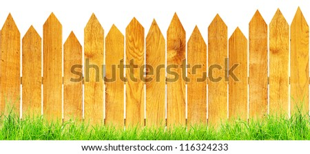 wood fence with green grass isolated - stock photo