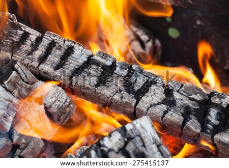 Wood fire with ash, Closeup, selective focus - stock photo