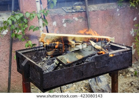Wood fired BBQ - stock photo