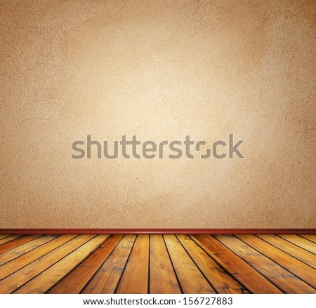 wood floor and brown wall - stock photo