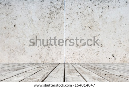 wood floor and concrete wall - stock photo
